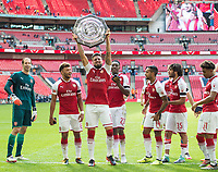 Arsenal's Olivier Giroud with Community Shield after  the The FA Community Shield Final match between Arsenal and Chelsea at Wembley Stadium, London, England on 6 August 2017. Photo by Andrew Aleksiejczuk / PRiME Media Images.