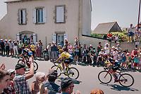 yellow jersey / GC leader Greg Van Avermaet (BEL/BMC) and teammates rolling through town, cathing up with the peloton just ahead<br /> <br /> Stage 6: Brest > Mûr de Bretagne / Guerlédan (181km)<br /> <br /> 105th Tour de France 2018<br /> ©kramon
