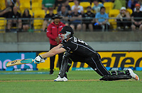 Jimmy Neesham bats during the One Day International cricket match between NZ Black Caps and India at Westpac Stadium in Wellington, New Zealand on Sunday, 3 February 2019. Photo: Dave Lintott / lintottphoto.co.nz