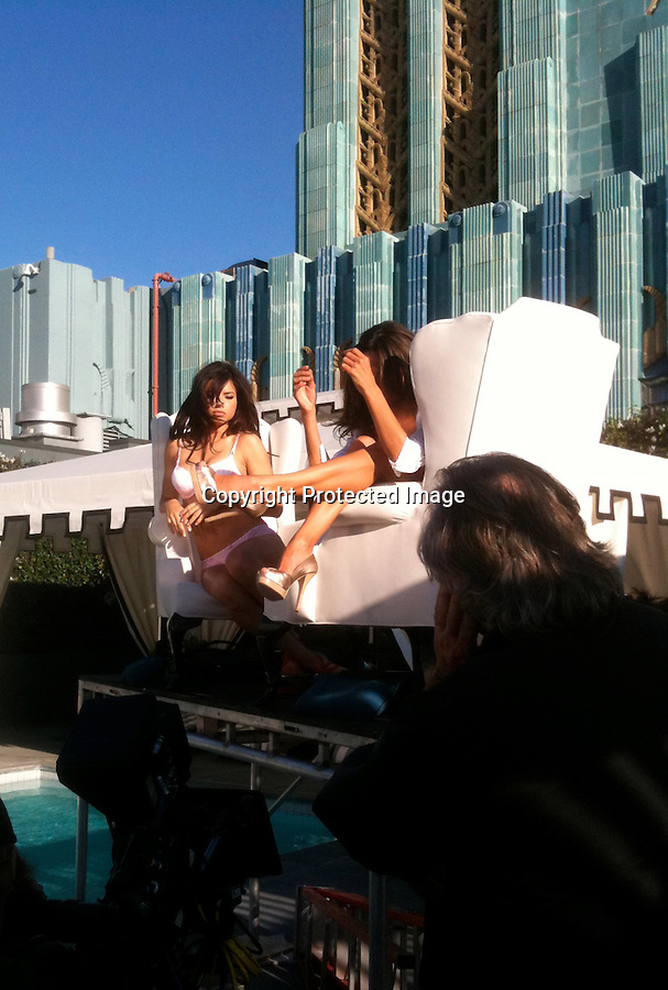 ".Exclusive February 11th 2011   Saturday ..Victoria's Secret commercial directed by Michael Bay for a new summer line of clothing called the ""Bombshell"" edition. .Filming on the penthouse pool of the Eastern building  in downtown Los Angeles ..The girls sitting by the pool in order from left to right Alessandra Ambrosio Erin Heatherton Adriana Lima Chanel Iman & Candice Swanepoel ..Erin was showing off her butt doing a solo walk across the pool .Alessandra Ambrosio text messaged on her phone while watching the other two girls film there scene .Candice was sporting her long legs in a lime green bikini .Erin & Lily did a sexy scene holding each other & laughing it up with director Michael .Bay..The girls were wearing a pink & black Polka Dot bikini & hot pink lace bra & panties  .They brought in a male model for one of Alessandra Ambrosio's scene as she shook her long legs wearing Gold high heel shoes & butt floss..Allessandra was getting sunscreen rubbed into her breast and cleavage area wearing a hot pink bikini  ..Erin  was wearing a harness so she would hang off the roof but they ended up cutting the scene. ....AbilityFilms@yahoo.com.805-427-3519.www.AbilityFilms.com"