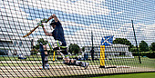 Cricket Scotland - Scotland train at Kent County cricket ground at Benkenham, ahead of two matches against Sri Lanka, on Sunday (tomorrow) and Tuesday - pic show Michael Leask - picture by Donald MacLeod - 20.05.2017 - 07702 319 738 - clanmacleod@btinternet.com - www.donald-macleod.com
