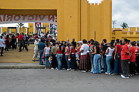 Cubans wait in a line in front of the former Moncada barracks during the annual celebration of the Cuban Revolution anniversary in Santiago de Cuba, Cuba, 26 July 2008. The Cuban revolution began when the poorly armed Cuban rebels, led by Fidel Castro, attacked the Moncada Barracks in Santiago de Cuba on 26 July 1953. The attack was easily defeated and most of the rebels were captured and later executed by the Batista regime. Although Fidel Castro had been sentenced to 15 years of prison, after less than two years he was released, he went to Mexico and in 1956, back in Cuba again, his guerilla group started a new rebellion.