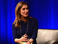 Washington, DC - March 23, 2018: CBS correspondent Margaret Brennan moderates a panel discussion with student journalists from Marjory Stoneman Douglas High School in Parkland, Florida participate at the Newseum in Washington, D.C. March 23, 2018. The students recounted their experiences in covering the shooting tragedy at their school for The Eagle Eye newspaper.  (Photo by Don Baxter/Media Images International)