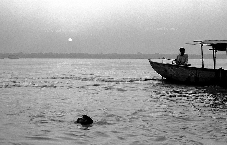 Varanasi (Uttar Pradesh)<br /> <br /> Man taking his bath in Ganga river.<br /> <br /> Homme en train de se baigner dans le Gange.