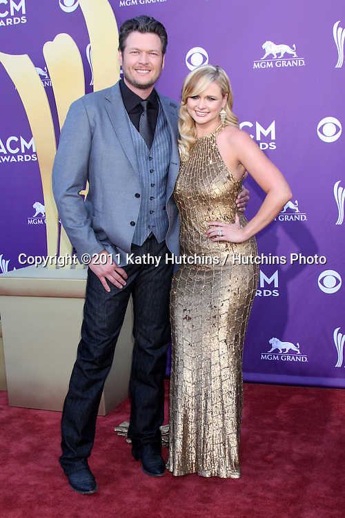 LAS VEGAS - APR 1:  Blake Sheldon, Miranda Lambert arrives at the 2012 Academy of Country Music Awards at MGM Grand Garden Arena on April 1, 2010 in Las Vegas, NV.