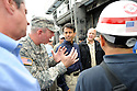 From left to right, U.S. Senator David Vitter,  Army Corps of Engineers Colonel Ed Fleming, Louisiana Governor Bobby Jindal, New Orleans Mayor Mitch Landrieu and Army Corps of Engineers Ray Newman tour the new levee wall and pumps at the 17th Street Canal, built after Hurricane Katrina,  as Hurricane Isaac approaches New Orleans, Tuesday, Aug. 28, 2012. The Category 1 hurricane is expected to hit New Orleans over night....(AP Photo/Cheryl Gerber)