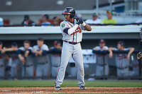 Charles Reyes (39) of the Danville Braves at bat against the Burlington Royals at Burlington Athletic Stadium on July 13, 2019 in Burlington, North Carolina. The Royals defeated the Braves 5-2. (Brian Westerholt/Four Seam Images)