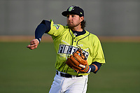 Second baseman Blake Tiberi (3) of the Columbia Fireflies warms up prior to a game against the Augusta GreenJackets on Friday, April 6, 2018, at Spirit Communications Park in Columbia, South Carolina. Columbia won, 7-2. (Tom Priddy/Four Seam Images)
