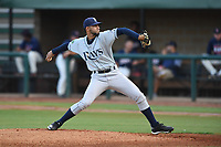 Princeton Rays starting pitcher Christian Fernandez (16) in action against the Elizabethton Twins at Northeast Community Credit Union Ballpark on July 23, 2019 in Elizabethton, Tennessee. The Rays defeated the Twins 8-3. (Tracy Proffitt/Four Seam Images)