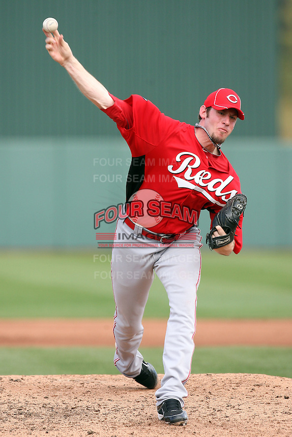Logan Ondrusek #66 of the Cincinnati Reds pitches against the Los Angeles Angels in a spring training game at Tempe Diablo Stadium on March 1, 2011  in Tempe, Arizona. .Photo by:  Bill Mitchell/Four Seam Images.