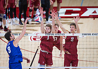 STANFORD, CA - March 2, 2019: Paul Bischoff,Stephen Moye at Maples Pavilion. The Stanford Cardinal defeated BYU 25-20, 25-20, 22-25, 25-21.