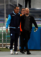 Football Soccer: UEFA Champions League Napoli vs Mabchester City San Paolo stadium Naples, Italy, November 1, 2017. <br /> Napoli coach Maurizio Sarri (l) and Manchester City Josep Guardiola (r) prior to the start of the he Uefa Champions League football soccer match between Napoli and Manchester City at San Paolo stadium, November 1, 2017.<br /> UPDATE IMAGES PRESS/Isabella Bonotto