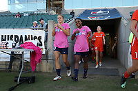 Cary, North Carolina  - Saturday September 09, 2017: Abby Dahlkemper and Taylor Smith prior to a regular season National Women's Soccer League (NWSL) match between the North Carolina Courage and the Houston Dash at Sahlen's Stadium at WakeMed Soccer Park. The Courage won the game 1-0.