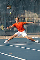 SAN ANTONIO, TX - JANUARY 29, 2011: The Laredo Community College Palominos vs. the University of Texas at San Antonio Roadrunners Men's Tennis at the UTSA Tennis Center. (Photo by Jeff Huehn)