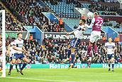 12th September 2017, Villa Park, Birmingham, England; EFL Championship football, Aston Villa versus Middlesbrough; Jonathan Kodjia of Aston Villa gets a strong header on goal