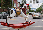 """A view of """"Rockin' Cowboy"""" created by artist, Robin LaPeruta, one of the """"Rockin' Around Saugerties"""" theme Statues on display throughout the Village of Saugerties, NY, on Sunday, June 4, 2017. Photo by Jim Peppler. Copyright/Jim Peppler-2017."""