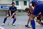 Mannheim, Germany, January 07: During the 1. Bundesliga Herren Hallensaison 2017/18 Sued  hockey match between Mannheimer HC (blue) and Nuernberger HTC (red) on January 7, 2018 at Irma-Roechling-Halle in Mannheim, Germany. Final score 7-4 (HT 2-2). (Photo by Dirk Markgraf / www.265-images.com) *** Local caption *** Tin Nguyen Luong #7 of Mannheimer HC