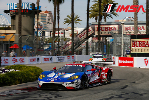 2017 IMSA WeatherTech SportsCar Championship<br /> BUBBA burger Sports Car Grand Prix at Long Beach<br /> Streets of Long Beach, CA USA<br /> Friday 7 April 2017<br /> 66, Ford, Ford GT, GTLM, Joey Hand, Dirk Muller<br /> World Copyright: Jake Galstad/LAT Images