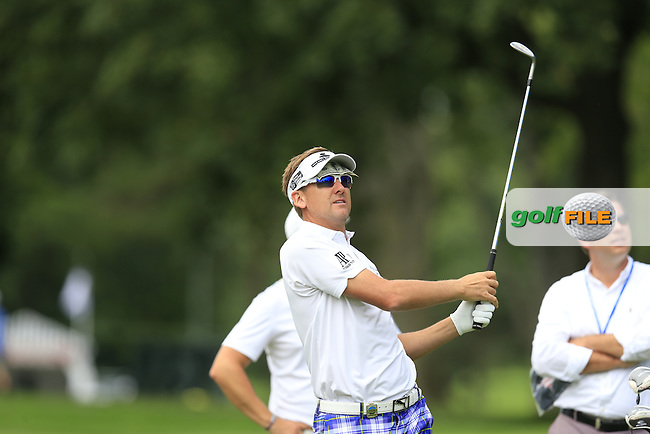 Ian Poulter (ENG) in action during Tuesday's Practice Day of the 95th US PGA Championship 2013 held at Oak Hills Country Club, Rochester, New York.<br /> 6th August 2013.<br /> Picture: Eoin Clarke www.golffile.ie