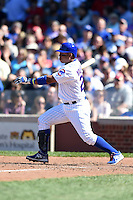 Chicago Cubs third baseman Luis Valbuena (24) at bat during a game against the Milwaukee Brewers on August 14, 2014 at Wrigley Field in Chicago, Illinois.  Milwaukee defeated Chicago 6-2.  (Mike Janes/Four Seam Images)