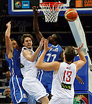 French national basketball team player Pietrus Florent fights for the ball with Spanish Marc and Pau Gasol during final Eurobasket 2011 game between Spain and France in Kaunas, Lithuania, Sunday, September 18, 2011. (photo: Pedja Milosavljevic)