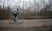 Paris-Roubaix 2013 RECON..Stijn Vandenbergh (BEL) flying over the Arenberg cobbles..
