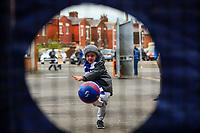 A young Blackburn Rovers fan tries his luck at a shootout game, outside Ewood Park<br /> <br /> Photographer Alex Dodd/CameraSport<br /> <br /> The EFL Sky Bet Championship - Blackburn Rovers v Queens Park Rangers - Saturday 3rd November 2018 - Ewood Park - Blackburn<br /> <br /> World Copyright &copy; 2018 CameraSport. All rights reserved. 43 Linden Ave. Countesthorpe. Leicester. England. LE8 5PG - Tel: +44 (0) 116 277 4147 - admin@camerasport.com - www.camerasport.com