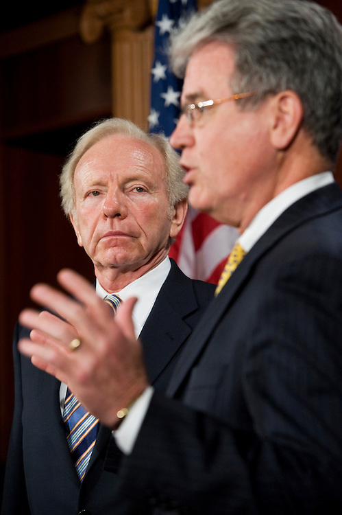 UNITED STATES - JUNE 28:  Sens. Joe Lieberman, I-Conn., left, and Tom Coburn, R-Okla., conduct a news conference in the Capitol on a bipartisan effort to reform Medicare that will also reduce the national deficit.  (Photo By Tom Williams/Roll Call)