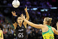 18.10.2018 Silver Ferns Maria Folau in action during the Silver Ferns v Australia netball test match at the TSB Arena in Wellington. Mandatory Photo Credit ©Michael Bradley.