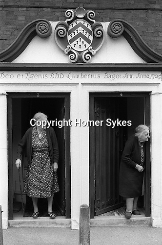Almshouse Abbots Bromley, Staffordshire England  1973.Seniors watching the Horn dance