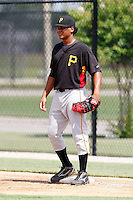 July 13, 2009:  First Baseman Gerlis Rodriguez of the GCL Pirates during a game at Tiger Town in Lakeland, FL.  The GCL Pirates are the Gulf Coast Rookie League affiliate of the Pittsburgh Pirates.  Photo By Mike Janes/Four Seam Images