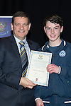 St Johnstone FC Youth Academy Presentation Night at Perth Concert Hall..21.04.14<br /> Chairman Steve Brown presents to Cameron Thomson<br /> Picture by Graeme Hart.<br /> Copyright Perthshire Picture Agency<br /> Tel: 01738 623350  Mobile: 07990 594431