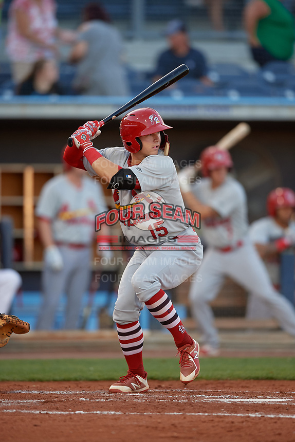 Palm Beach Cardinals second baseman Andy Young (15) at bat during a game against the Charlotte Stone Crabs on April 20, 2018 at Charlotte Sports Park in Port Charlotte, Florida.  Charlotte defeated Palm Beach 4-3.  (Mike Janes/Four Seam Images)