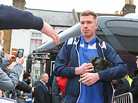Bolton Wanderers' Josh Vela gets off the coach outside Griffin Park<br /> <br /> Photographer Alex Dodd/CameraSport<br /> <br /> The EFL Sky Bet Championship - Brentford v Bolton Wanderers - Saturday 13th January 2018 - Griffin Park - Brentford<br /> <br /> World Copyright &copy; 2018 CameraSport. All rights reserved. 43 Linden Ave. Countesthorpe. Leicester. England. LE8 5PG - Tel: +44 (0) 116 277 4147 - admin@camerasport.com - www.camerasport.com