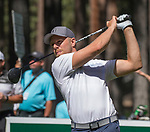 Joe Pavelski hits a tee shot on the fourth hole during the American Century Championship at Edgewood Tahoe Golf Course in Stateline, Nevada, Saturday, July 14, 2018.