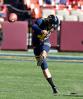 Giorgio Tavecchio of California kicks the ball during the game against Fresno State at Candlestick Park in San Francisco, California on September 3rd, 2011.  California defeated Fresno State, 36-21.