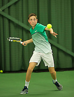 Rotterdam, The Netherlands, March 13, 2016,  TV Victoria, NOJK 12/16 years, Sander Jong (NED)<br /> Photo: Tennisimages/Henk Koster