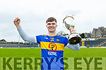 Sean Quilter celebrates after winning the Corn Uí Mhuire final in Fitzgerald Stadium on Saturday