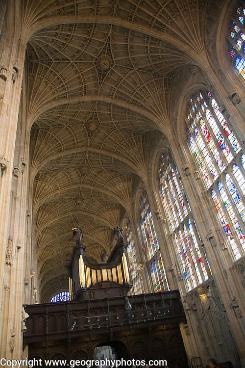 King's College chapel interior with fan vaulting, Cambridge university, Cambridgeshire, England