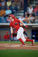Williamsport Crosscutters third baseman Jake Holmes (17) follows through on a swing during a game against the Mahoning Valley Scrappers on August 28, 2018 at BB&T Ballpark in Williamsport, Pennsylvania.  Williamsport defeated Mahoning Valley 8-0.  (Mike Janes/Four Seam Images)