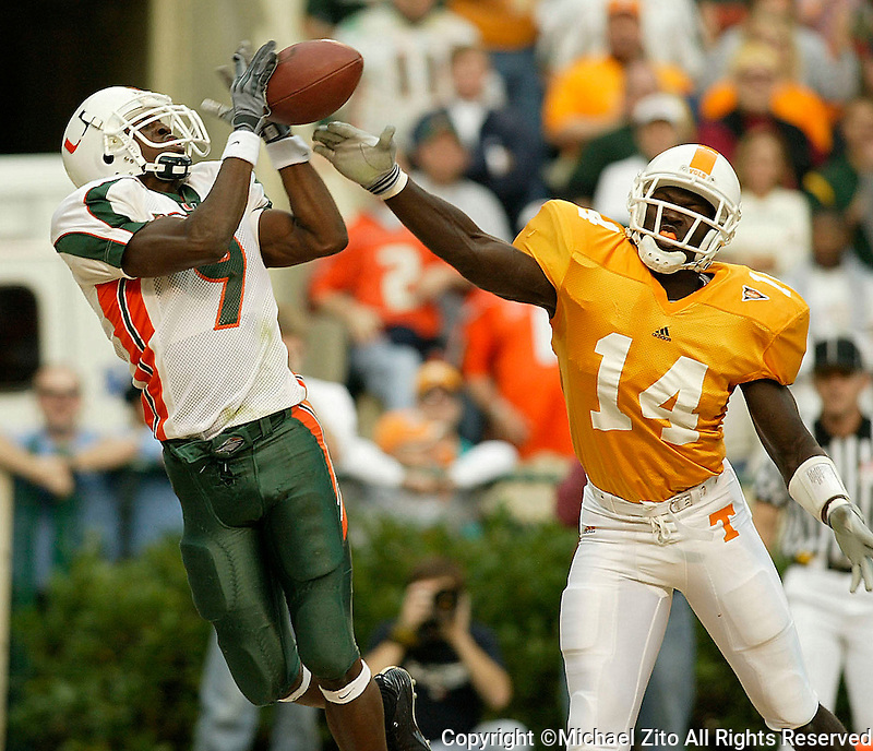 U of Miami Kevin Beard has a reception knocked away by U oF Tennessee Julian BattleIn an NCAA Football game held at Neyland Stadium where the University of Miami beat the University of Tennessee 26-3