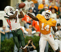 U of Miami Kevin Beard has a reception knocked away by U oF Tennessee Julian Battle