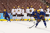 Gabe Guertler (MN - 27), Connor Reilly (MN - 21), Vinni Lettieri (MN - 19) - The University of Minnesota Golden Gophers took part in a press conference and practice on Friday, April 11, 2014, during the 2014 Frozen Four at the Wells Fargo Center in Philadelphia, Pennsylvania.