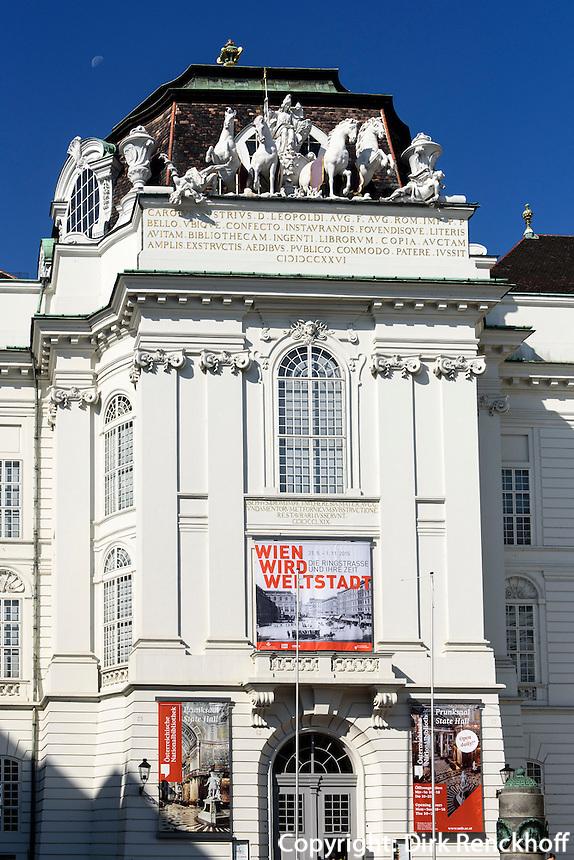 Eingang zum Prunksaal der Nationalbiblithek am Josefsplatz, Wien, &Ouml;sterreich, UNESCO-Weltkulturerbe<br /> Entrance to the state room of National Library, Josefsplatz, Vienna, Austria, world heritage