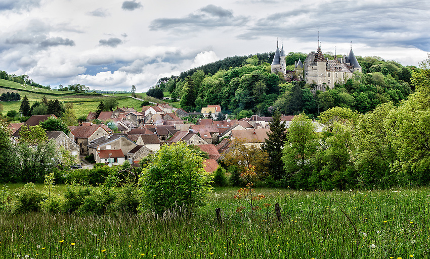 Landscape in Burgundy showing the château and village of La Rochepot, located about 15 miles southwest of Beaune.