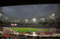 The Stadium waits for the 110m 2ND heat which is delayed due to the weather during the Sainsburys Anniversary Games Athletics Event at the Olympic Park, London, England on 24 July 2015. Photo by Andy Rowland.