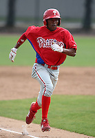 March 25, 2010:  Outfielder D'Arby Myers (44) of the Philadelphia Phillies organization during a Spring Training game at the Carpenter Complex in Clearwater, FL.  Photo By Mike Janes/Four Seam Images