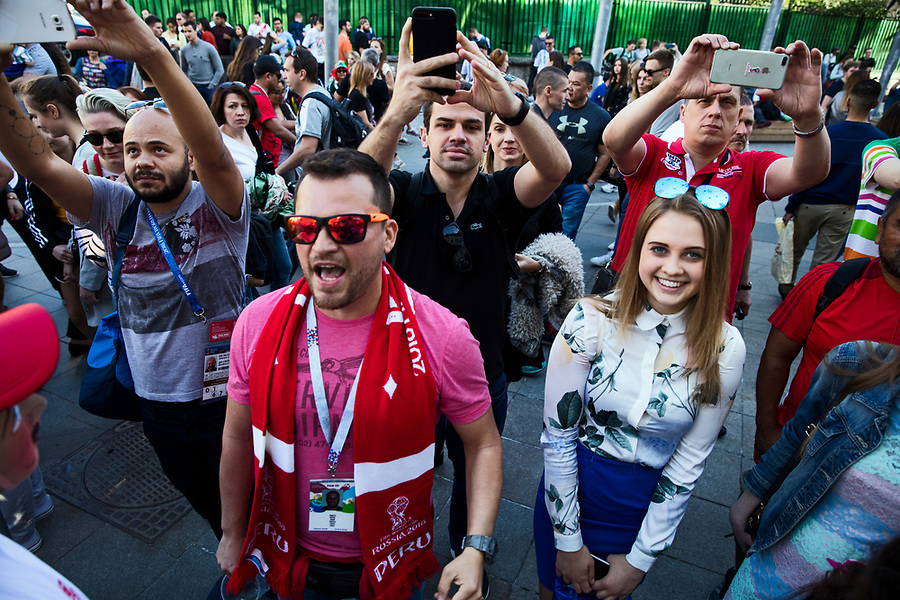 Moscow, Russia, 15/06/2018.<br /> Peru supporters in central Moscow during the 2018 FIFA World Cup.