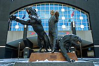 "Charlotte Snow Photography - Photography of the Carolina Panthers' owner Jerry Richardson statue ""The Tribute"" outside of Bank of America Stadium in Charlotte North Carolina. <br /> <br /> Charlotte Photographer - PatrickSchneiderPhoto.com"