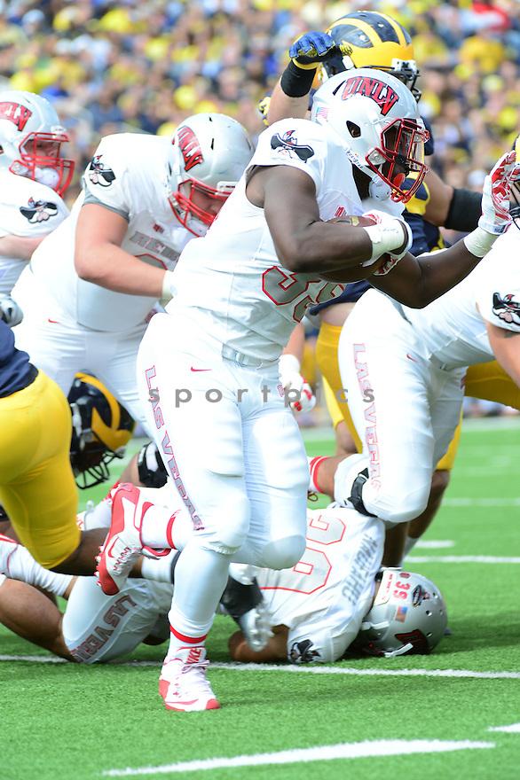 UNLV Rebels Xzaviar Campbell (35) during a game against the Michigan Wolverines on September 19, 2015 at Michigan Stadium in Ann Arbor, MI. Michigan beat UNLV 28-7.